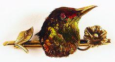 Victorian hummingbird head brooch
