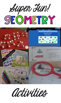 Awesome ideas for teaching geometry to elementary students. Lots of hands on engaging activities. and shapes. Build, compare, literature connections, task cards and technology. Teaching Geometry, Geometry Activities, Teaching Math, Math Activities, Teaching Tips, Kindergarten Math, Activity Centers, Math Centers, Fourth Grade Math