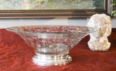 Cambridge Chantilly Glass Bowl with Sterling Silver Base - Large Chantilly Etched Glass Sterling Footed Bowl - Vintage Cambridge Glass Bowl