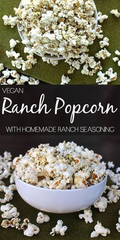 Popcorn with Homemade Ranch Seasoning Easy peasy ranch popcorn made with homemade ranch seasoning!Easy peasy ranch popcorn made with homemade ranch seasoning! Homemade Popcorn Seasoning, Vegan Popcorn, Flavored Popcorn, Gourmet Popcorn, Popcorn Flavours, Popcorn Toppings, Popcorn Snacks, Candy Popcorn, Breakfast