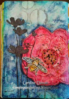 art journal page by Caroline Duncan ~ stampingsandinklings.blogspot.com ~ DLP2015, Donna Downey, Dina Wakley Media
