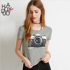 Haoduoyi 2016 Summer Women Gray T-shirt :collections.ml/...