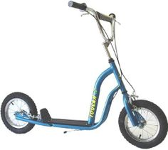 "Belize Bicycle TOUCAN 16 inch SCOOTER - Blue by Belize Bicycle. $120.70. Spoke wheels with beefy 16"" x 2.125"" MTB style tires, Tough frame, front and rear caliper brakes, kickstand, handlebar pad. A 16"" wheel push scooter or kick scooter for youth or adult. An excellent choice for dogscootering. Toucan 16 Specifications Height(min) 36"" Height(max) 39"" Length 54"" Weight 24 pounds Ground Clearance 4"" Frame HiTen steel Fenders (optional) Steel, black Wheels 16"" alloy Brakes Caliper..."