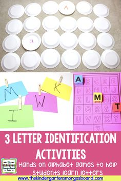 Today I'm showing you three letter identification activities that are super easy to make and super engaging! Did I mention cheap and easy? Letter Identification Activities, Teaching Letter Recognition, Teaching Letter Sounds, Teaching Letters, Kindergarten Smorgasboard, Kindergarten Reading, Kindergarten Centers, Reading Fluency, Reading Groups