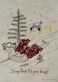 Scrap,quilt and stitch: Snow ladies Pillow Embroidery, Cross Stitch Embroidery, Embroidery Patterns, Hand Embroidery, Quilt Patterns, Machine Embroidery, Snowman Quilt, Primitive Stitchery, Snowman