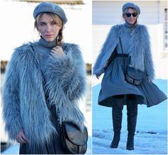 50 shades of grey)) Fur Jacket, Fur Coat, 50 Shades Of Grey, Pleated Midi Skirt, Beret, Monochrome, Jumper, Minimal, Asos