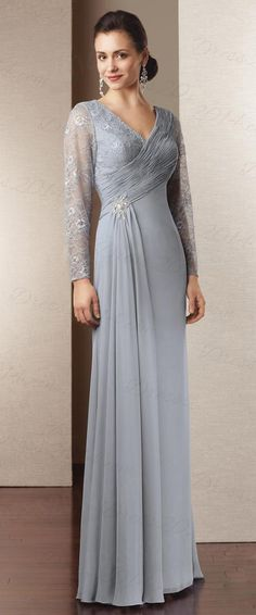 DressilyMe Bridal Dresses Online,Wedding Dresses Ball Gown, gorgeous chiffon lace sleeve sheath v neck neckline full length mother of the bride dress Mother Of Groom Dresses, Bride Groom Dress, Bride Gowns, Mothers Dresses, Mother Of The Bride, Wedding Party Dresses, Bridesmaid Dresses, Prom Dresses, Formal Dresses