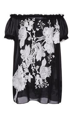 Floral Bouquet Embroidered Peasant Blouse  by Naeem Khan for Preorder on Moda Operandi