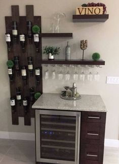 Modular Wood Wine Rack – Wine Bottle Holder – Hanging Wine Rack – Black Walnut - All About Garden Hanging Wine Rack, Wine Rack Wall, Wood Wine Racks, Diy Home Bar, Home Bar Decor, Home Wine Bar, Mini Bar At Home, Small Home Bars, In Home Bar Ideas