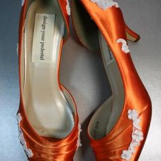 Orange Wedding Shoes with Lace Details Orange Wedding Shoes, Orange Purple Wedding, Tangerine Wedding, Peach Orange, Orange And Purple, Marrying My Best Friend, Orange Is The New Black, Princess Wedding, Types Of Shoes
