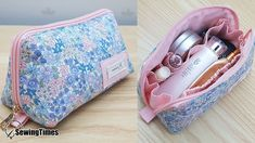 DIY Makeup Pouch Bag [sewingtimes] Diy Makeup Bag, Makeup Bag Organization, Small Makeup Bag, Makeup Pouch, Cosmetic Bag Tutorial, Small Sewing Projects, Purse Patterns, Fabric Bags, Pouch Bag