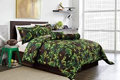 Hunter Green Brown Black Camouflage Camo Pixel Comforter Set Bed In A Bag Twin Size Bedding *** Want additional info? Click on the image.