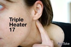 Press this point for ear and jaw pain  Triple Heater 17 is a great point for all kinds of ear issues, including ear aches and infections, itching in the ears, tinnitus, and difficulty hearing. It's also indicated for jaw pain and lower toothaches. If you're a teeth grinder who suffers from TMJ, this is a