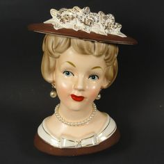 Huge Relpo Lady Head Vase  w Hat & Bow Tie Bodice