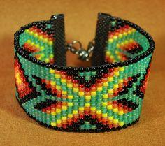 Loom beaded bracelet 11/0 glass seed beads 6 3/8 by beadingrays
