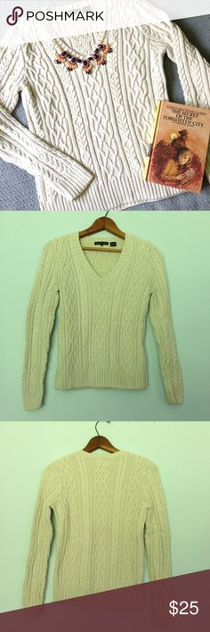Cream cable knit sweater Look no further for a comfy cozy fall sweater! Cream colored with gorgeous cable knit pattern, by Jeanne Pierre, size small. On the heavy side, will keep you warm and toasty! Jeanne Pierre Sweaters V-Necks