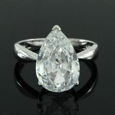 Elegant 5.00ct VVS1 Pear Cut Diamond Solitaire Engagement Ring #Affinityjewelry #SolitaireRing
