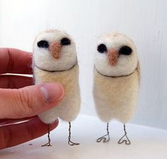 Two wise little barn owls, needle felted from natural and hand-dyed wool, stand freely on feet fashioned from bronze wire. Even though theyre supposed to be nocturnal, these two friends like to watch the world go by during the day and whisper secrets to each other.    The owls in the photos have been sold - your own set will be made to order, especially for you! Both owls will stand at just about 3 inches tall. Theyd look great on your windowsill, bookshelf, or anywhere you need a little bit…