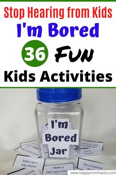 Indoor & Outdoor Kids Activities for an I'm Bored Jar. List of 36 Free Printable things for kids to do on their own while your working from home. Keep them busy and happy. games for kids Indoor Games For Kids, Outdoor Activities For Kids, Fun Games For Kids, Easy Crafts For Kids, Kid Games, Outdoor Games, Kids Diy, Kid Crafts, Bored Jar