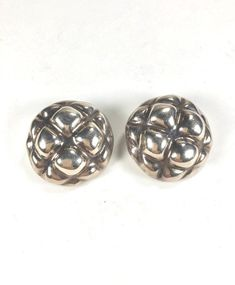 Excited to share the latest addition to my #etsy shop: Taxco Sterling Earrings Repousse Button Clips Cactus Flower Motif Signed