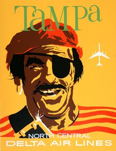 Delta Air Lines Tampa Florida Pirate c1965...combining two of the things I love the most: Tampa and Delta!