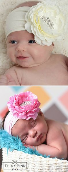 This flower headband is accented by a center cluster of beautiful rhinestones, placed on a thick, stretchy band for added comfort. Explore hairbands for newborn babies at http://thinkpinkbows.com/products/sent-from-above-headband   Kids Fashion