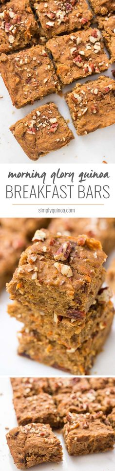 QUINOA BREAKFAST BARS with carrot, apple, pecans + raisins -- high in protein, healthy and SO FLAVORFUL! All clean eating ingredients are used to make this healthy breakfast recipe. Quinoa Breakfast Bars, Breakfast Cookies, Healthy Breakfast Recipes, Clean Eating Recipes, Brunch Recipes, Healthy Desserts, Vegetarian Recipes, Cooking Recipes, Picnic Recipes