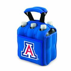 NCAA Arizona Wildcats Six Pack Cooler Tote by Picnic Time. $34.95. Securely houses standard size beverages; Great for tailgating!. A great way to celebrate your almamater. Picnic Time digital print team logoed 6 pack cooler tote. Durable Neoprene insulates and protects 6 bottles or cans. Handy side pocket for personal items. This Picnic Time Six Pack team logoed insulated beverage tote features a durable Neoprene construction with comfy padded handles and allows ...
