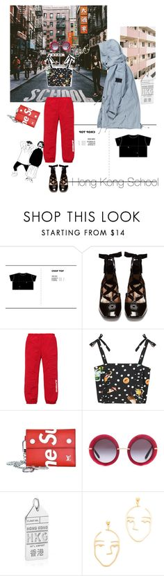 """Hong Kong School"" by ladyarchitect ❤ liked on Polyvore featuring Valentino, MANGO, Supreme, Dolce&Gabbana, Jet Set Candy, Amber Sceats, cozy, hongkong and redbag"
