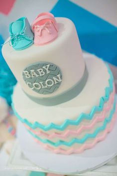 Chevron Baby Shower Party cake! See more party planning ideas at CatchMyParty.com!