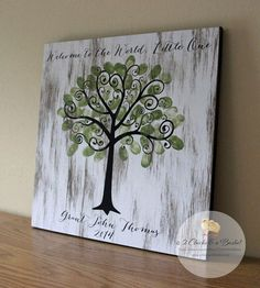 Baby Shower Fingerprint Tree Sign Guest Book by 2ChicksAndABasket