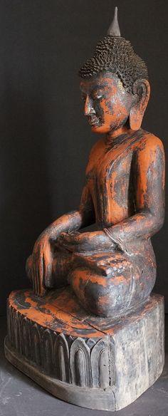 Side view Antique Burmese Antique Arakan Wood Buddha Statue