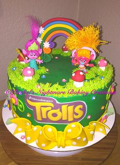 """trolls"" themed 10"" Birthday Cake with whimsical rainbow, toadstools, and fondant bow"