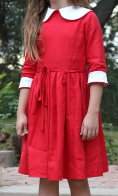 Red linen dress from a 1963 pattern.Sew Country Chick