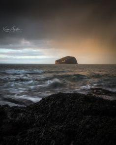 Bass Rock Island from Seacliff Beach in the evening, Scotland