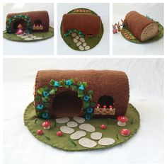 Blue Bell Flower Hollow Log Playscape Play Mat wool felt fairy house woodland dollhouse pretend open-ended imagination toy child mushroom by MyBigWorld2015 on Etsy