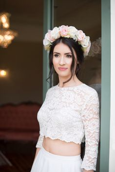 Handcrafted, bespoke artificial silk flower bridal crown from Lilly Dilly's Photography by Kayleigh Pope Photography Dilly's Red Wedding Flowers, Bridal Flowers, Flowers In Hair, Flower Hair, Flower Crowns, Flower Model, Artificial Silk Flowers, Hair Wreaths, Bridal Crown