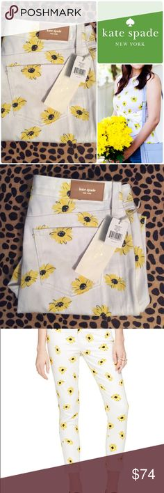 "Nwts KATE SPADE sz31"" sunflower white JEANS💕 Super fun high waisted brand new KATE SPADE sunflower white jeans size 31.   Tags still attached. kate spade Jeans"