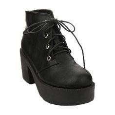 Tied Black Platform Ankle Boots | Victoriaswing