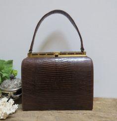 Vintage Brown Alligator Lizard Handbag by LilacandLaceVintage