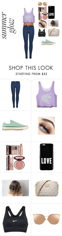 """summer glow"" by ameliagrace4575 ❤ liked on Polyvore featuring beauty, Converse, Charlotte Tilbury, Givenchy, MICHAEL Michael Kors and Linda Farrow"