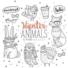 Woodland Hipster Animal Clipart Hipster Clip Art Hand Drawn   Etsy