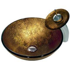 "Vigo VGT019 Liquid Gold 16-1/2"" Glass Vessel Sink with Single Hole Bathroom Fauc Chrome Fixture Lavatory Sink Combination"