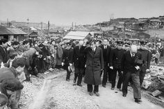 Japan's Emperor Hirohito in Yokohama during his first visit to see living conditions in the country after war, 1946.