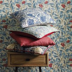 Loaf's oak Campaign bedside table styled by @MorrisandCo with William Morris fabrics