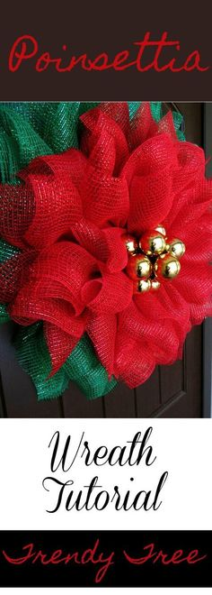 Poinsettia Mesh Wreath Tutorial This is pretty much a repeat of our Poinsettia Wreath Tutorial but its made with different fabric. Supplies: 24 Emerald Green Work Wreath (othe Source by trendytree Wreath Crafts, Diy Wreath, Holiday Crafts, Wreath Ideas, Fabric Wreath, Wreath Making, Christmas Mesh Wreaths, Christmas Ornaments, Winter Wreaths