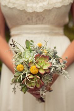 Floral Arrangement: Bouquet made of succulents, air plants & billy buttons. - I love this look but I would like a little more color in it.maybe add one or two types of flowers in there for an extra pop! Bouquet Succulent, Floral Wedding, Wedding Flowers, Bridesmaid Flowers, Bridesmaids, White Clematis, Our Wedding, Dream Wedding, Fall Wedding