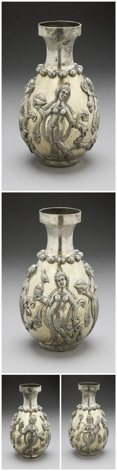 Sasanian empire - Vase with Dancing Female Figures. Iran, 224-651. Hammered silver with gilding.