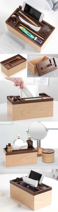 Wooden  Smart Phone Holder Stand   Tissue Box Office Desk Stationery Organizer  Pen Pencil Holder  Paper Clip Holder Collection