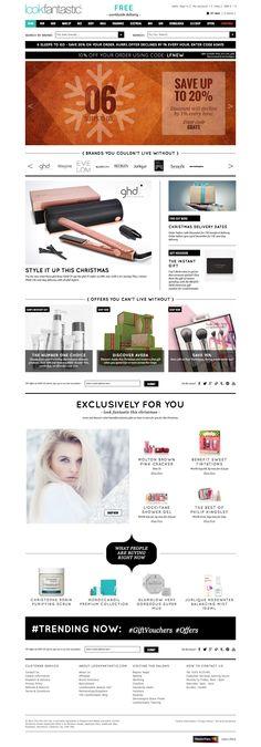 Look Fantastic Desktop Home Page Christmas Offers, Beauty Websites, Gift Vouchers, Desktop, Gallery, Hair, Design, Roof Rack